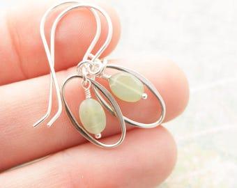 Mint Green Chryoprase Oval Dangle - Sterling Silver Earrings