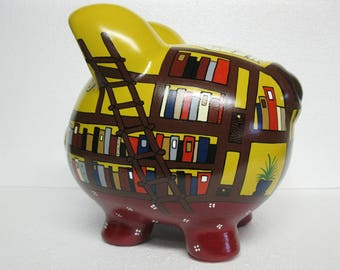 Library piggy bank, Personalized, Handpainted, Large Piggy Bank - What Book Do You Want To Read - MADE TO ORDER