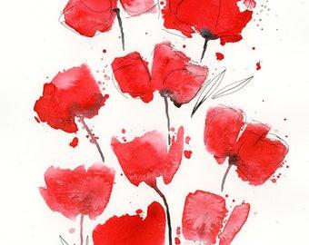 Watercolor Floral Print, Poppies Art, Fine Art, Flowers Art Print, Modern Art, Ink, Minimalist, Floral Bouquet, Abstract Art, Bohemian