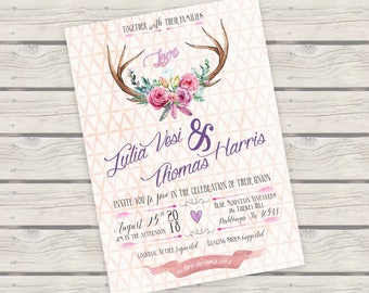 BoHo Antlers Floral Invitation Watercolor Invitation Suite