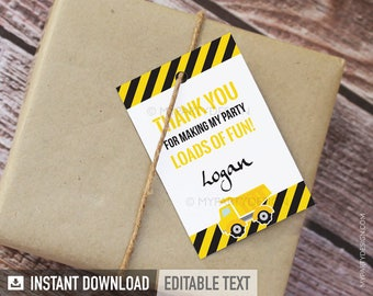 Construction Party Thank You Tags - Labels - Truck Party - Boy Birthday Party - White - INSTANT DOWNLOAD - Printable PDF with Editable Text