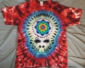 Adults X-Large Handmade Steal Your Face with Mandala Lotus Tie-Dye Shirt.