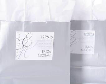 "Elegant Wedding Stickers - 4"" x 3"" Wedding Welcome Bag Stickers - Wedding Box Stickers - Thank You Stickers - Wedding Labels"