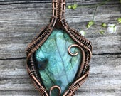 Sale / Was 115 Now 85 Labradorite and Copper Wire Wrapped Pendant