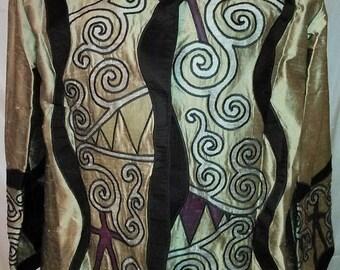 "BIG SUMMER SALE 80s Vintage Silk Tunic Jacket-Beverly Hills-44"" Bust-Large-Size 12"