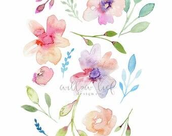 Floral Print, Flower Print, Wall Art , Wall Print, Easter, Watercolor Print, Flower Printable , instant download