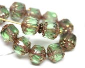 8mm Light Green cathedral beads Czech glass golden ends round fire polished ball beads 15Pc - 2437
