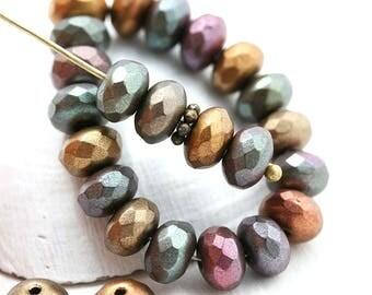 4x7mm Matte Metallic rondelle beads mix, Golden, Purple, Brown czech glass rondels, gemstone cut, fire polished - 25pc - 2316