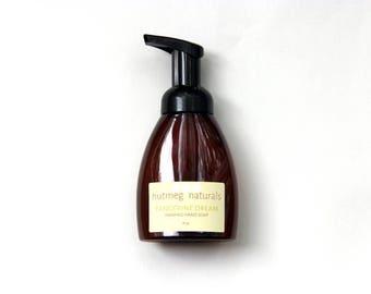 Tangerine dream liquid foaming hand soap, 8 oz, made with organic oils. Kitchen soap, bath soap, guest bathroom. Essential oil soap