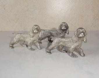 Vintage Pewter Dog Figurine Cocker Spaniel Set of 3 Standing