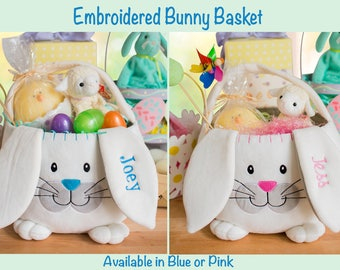 Easter basket ideas etsy embroidered easter basket personalized bunny basket basket for girl or boy easter bunny negle Images
