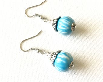 Blue Earrings - Blue Dangle Earrings - Blue Porcelain Earrings - Blue Beaded Earrings - Blue Drop Earrings - Blue and White Earrings