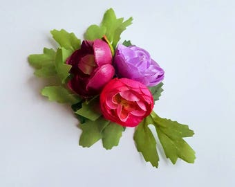 Flower hairclip with ranunculus in purple and pink. Flower boho hairclip. Romantic flowergirl bridesmaid raceday teaparty