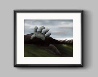 Expedition Art Print - painting, sci-fi, fantasy, landscape, surreal, mountain, hand