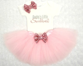 Daddy's Little Sweetheart..Three Piece Set...Baby Girl Clothes...Pink Tutu...Sparkle Bodysuit Set...Pregnancy Announcement...Gender Reveal