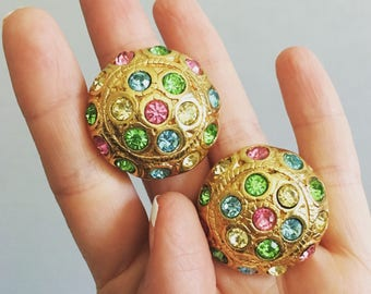 Big Brilliant Gold Vintage clip on Earrings with Multi-colored Rhinestones