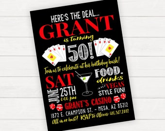 Las Vegas Birthday Invitation Vegas Invitation Printable Birthday Birthday Bash Casino Invitation Casino Birthday Invitation Boy Birthday