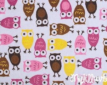 Minky fabric by the yard - Robert Kaufman Night Owls raspberry mango - owl minky fabric- one yard