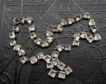 Art Deco Crystal Necklace. Rock Crystal. Open Back Sterling.  Geometric.