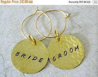 ON SALE BRIDE & Groom Brass Wine Charm Set Handcrafted Wedding Reception Head Table Wedding Champagne Toast Bridal Party Shower Gift