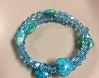 Blue and green hearts beaded bracelet