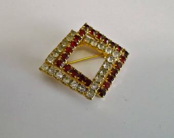 Rhinestone Brooch Vintage Modernist Red and Clear Squares Geometric Like a 50s Circle Pin but Square :)