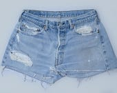 Vintage Levis Redline 501 Distressed Denim Black Bar Cut Off Jean Shorts W 33
