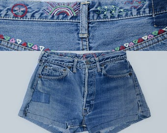 60s Levis BIG E S S Type Embroidered Single Stitch Black Bar Indigo Wash Cut-off Jean Shorts W 30