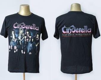 80s Cinderella Night Songs World Tour 1986 Hair Metal Promo Rock Tour T Shirt