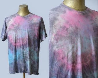 Vintage Psychedelic Tie Dye Tee Pink Grey & Blue Acid Trip Nice and Thin T Shirt
