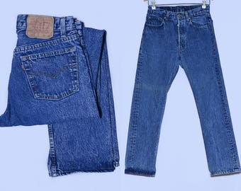 90s Levis Made in USA Button Fly Distressed Stone Wash Style Dark Blue Denim High Waisted Jeans 28 x 29