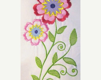 ON SALE Vintage Flower 02 Filled Machine Embroidery Design - 5x7 & 6x8