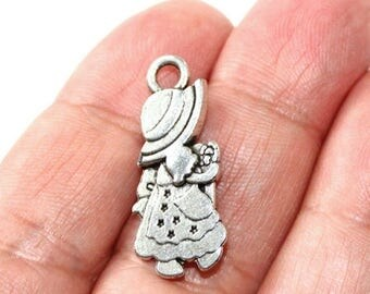 15% OFF - 2 Little Bo Peep Charms Antique Silver Tone 2 sided - CH760