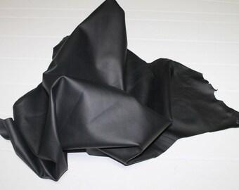 Italian Lambskin Lamb leather skin skins hide hides BLACK MATTE 4sqf #A2400