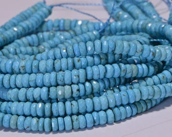 Faceted Rondelle Turquoise Beads Natural Gemstone Beads Jewelry Making Supplies