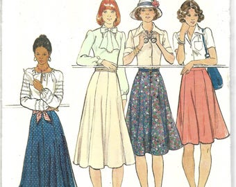 Misses Long Skirt Pattern, Gored Skirt Pattern, Ankle Length Skirt, Midi Skirt, Flared Skirt, Vintage 1970s Skirt Pattern, Waist 26 Inches