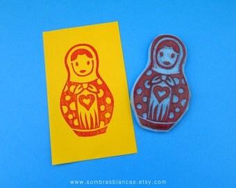 Matrioska Stamp - Hand Carved Rubber Stamp – Scrapbooking Stamp – Card Making – DIY Stationery - Journal Stamp - Printmaking