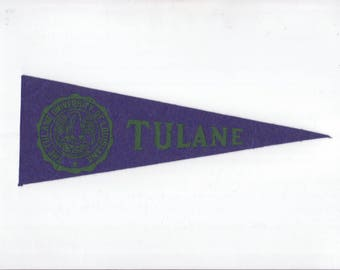 Vintage College Pennant TULANE University Small 9 x 3 MINI Felt School Pennant Flag 1940s-1960s Dorm Collectible Sports Decor Man Cave