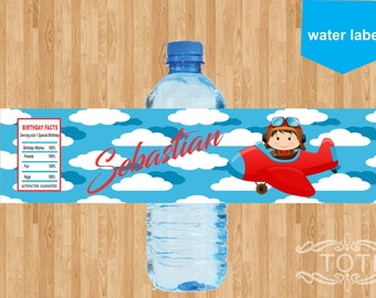 Airplane Pilot | Personalized Water label [DIGITAL FILE ONLY]