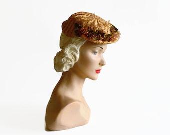 vintage Elsa Schiaparelli straw hat with fruit grapes Paris 1930s 1940s size 22