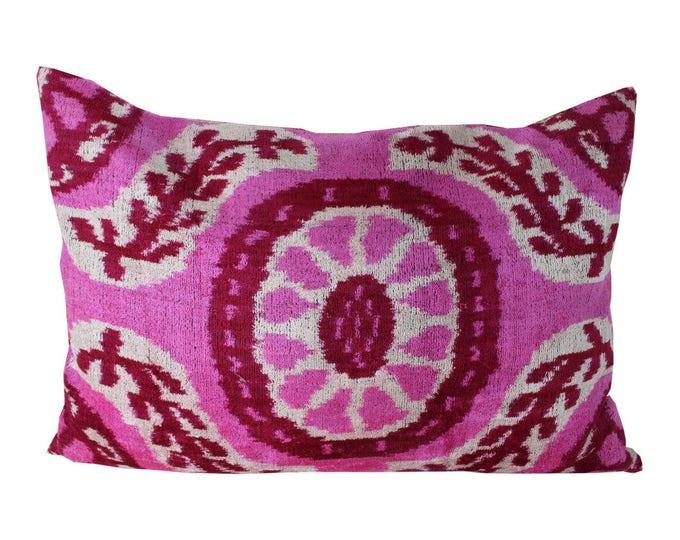 Silk Velvet Ikat Pillow Cover Lp320, Bohemian pillow, Velvet Ikat Pillow, Velvet Pillow, Velvet Pillow Cover, Ikat Pillows, Throw Pillows