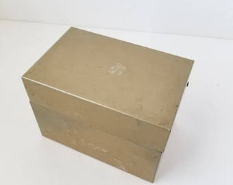 JC Hein Tan Metal File Box 4x6 Address File Box Recipe File Box Index Card File Box 4 by 6 Office Supplies Organization Assemblage Supplies
