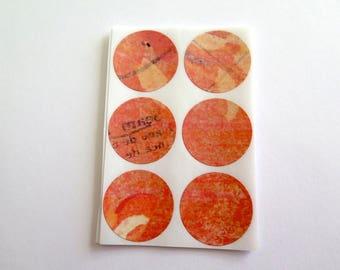 Envelope seals, sticker set of 30, orange, craft projects, card making scrapbooking
