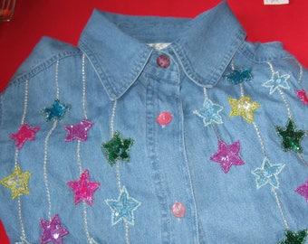 QUACKER FACTORY Denim Big Shirt - Sparkly Star Design - Size S