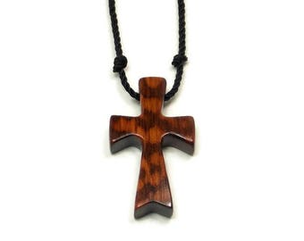 Snakewood Cross, Cross Necklace Men, Men's Wooden Cross Necklace, South American Snakewood, Mens Jewelry Cross, Minimalist Cross Necklace