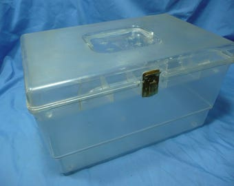 Vintage Clear Sewing Notions Thread Spool Storage Container Box