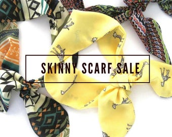 Giraffe Scarf, Skinny Scarf, Neck Scarf, Scarf Headband, Wrist Scarf, Hair Scarf, Ankle Scarf, Choker Scarf, Gift for Her, Ready to Ship