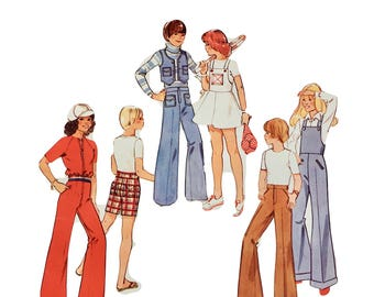 Vintage RETRO Creative Patterns 1970's Instructional Sewing Booklet and Pattern: Bell Bottom Pants and Overalls for Children. F4