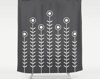 36 colours, Charcoal black, Minimalist Flowers Shower Curtain, Scandinavian style, geometric shower curtains, flower pattern bathroom decor