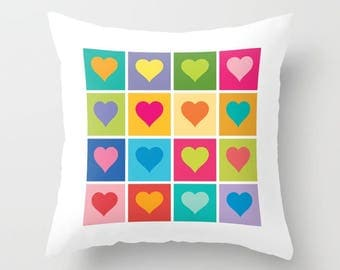 Heart pattern pillow, Gifts for her, Gifts for him, Rainbow hearts pillow, Love pillow, Faux Down Insert, Indoor or Outdoor cover